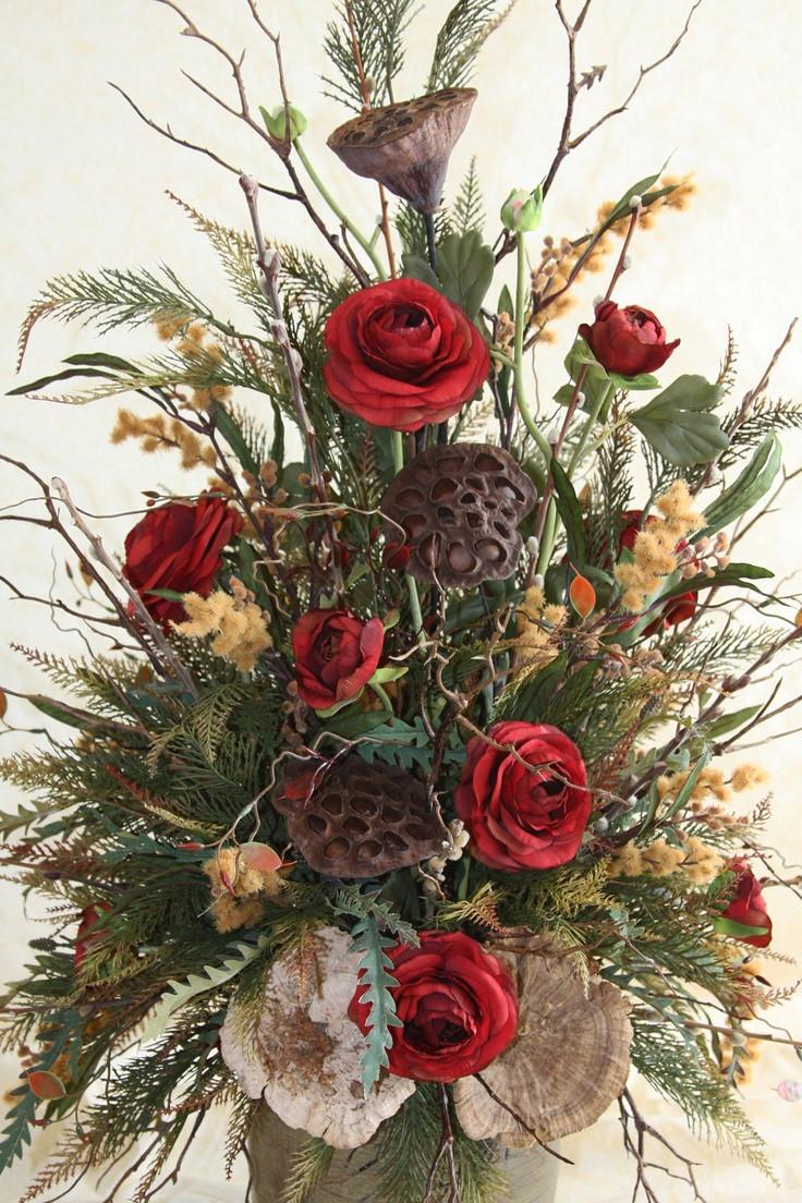 Christmas Silk Flower Arrangements  102 best images about Woodsy Floral Arrangements on Pinterest