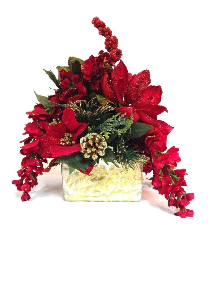 Christmas Silk Flower Arrangements  425 best images about Christmas flower arrangements on