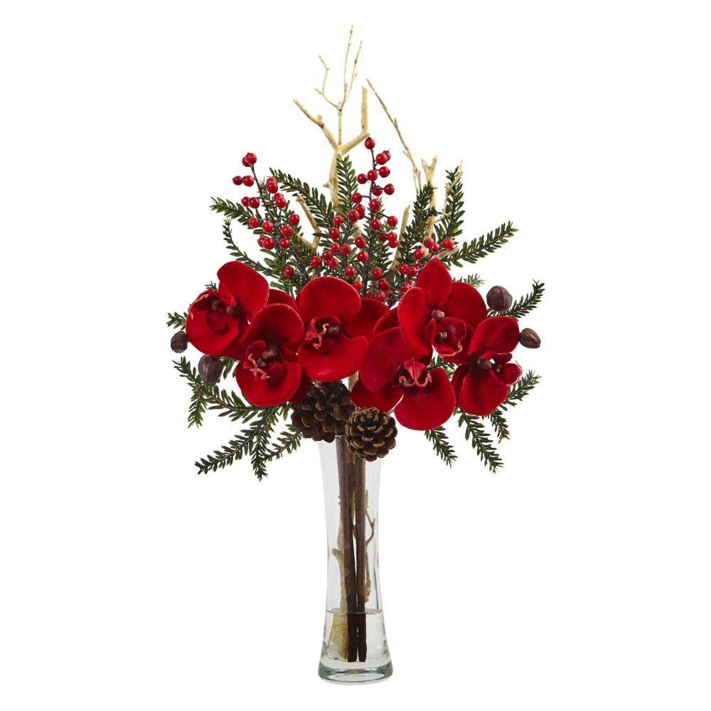 Christmas Silk Flower Arrangements  Nearly Natural Mixed Orchid Holiday Silk Flower