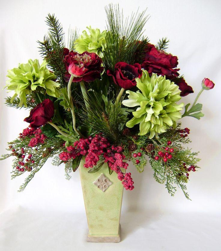 Christmas Silk Flower Arrangements  95 best Christmas silk flower arrangements images on Pinterest