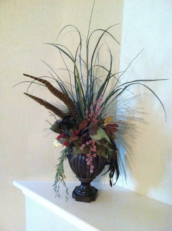 Christmas Silk Flower Arrangements  Items similar to Silk Floral Arrangement with FEATHERS