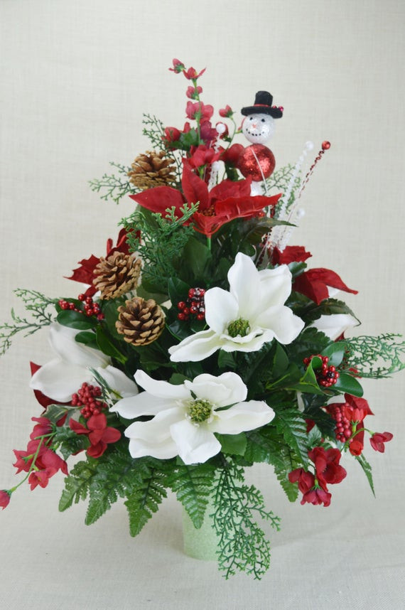 Christmas Silk Flower Arrangements  NO CC002 Holiday Christmas Silk Flower Cemetery by