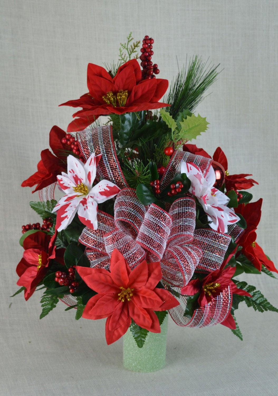 Christmas Silk Flower Arrangements  NO CC005 Holiday Christmas Silk Flower Cemetery by