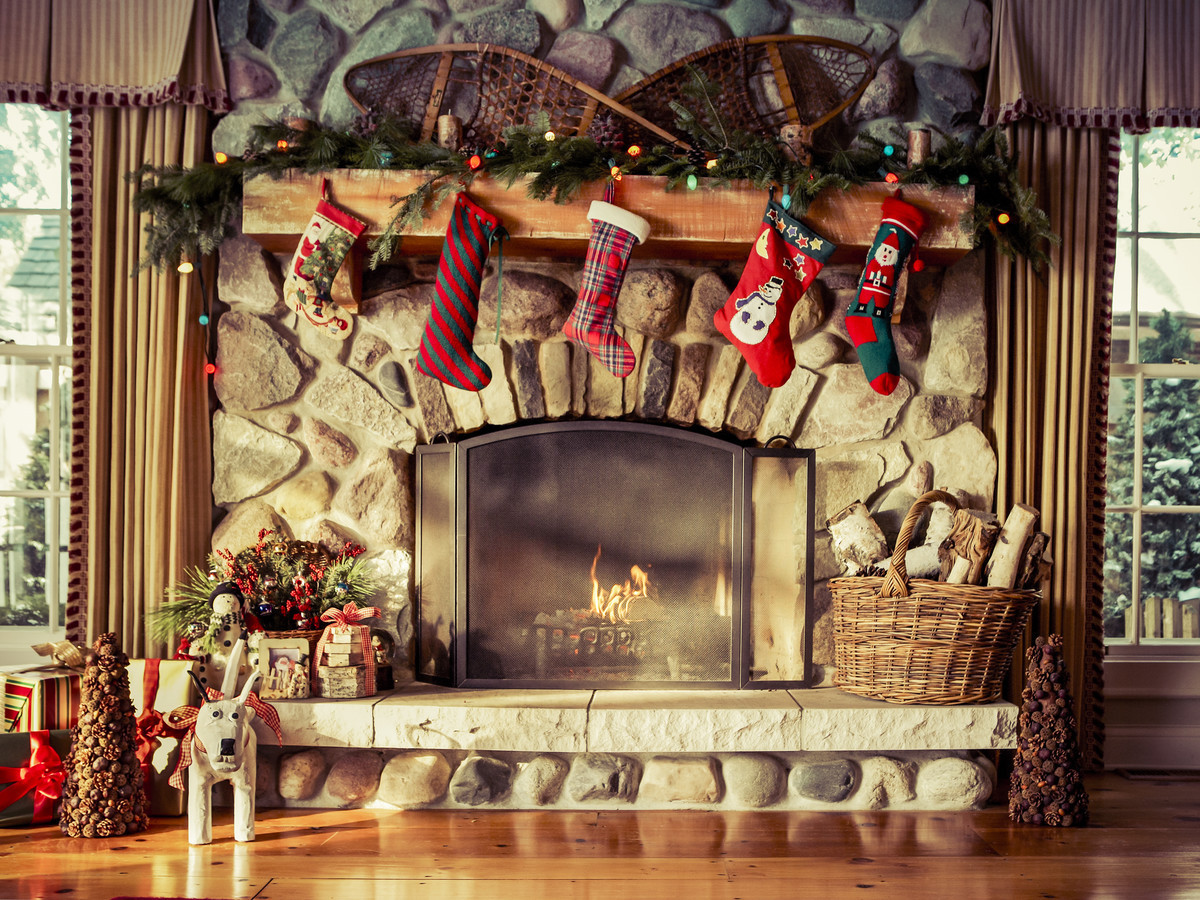 Christmas Sock Fireplace  Cozy Knit Christmas Stockings Southern Living