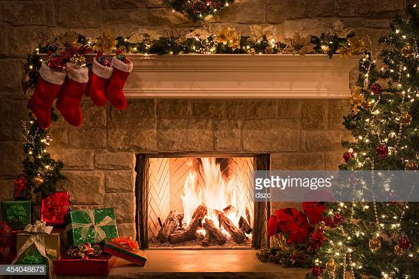 Christmas Sock Fireplace  Vintage Stocking Stock s and
