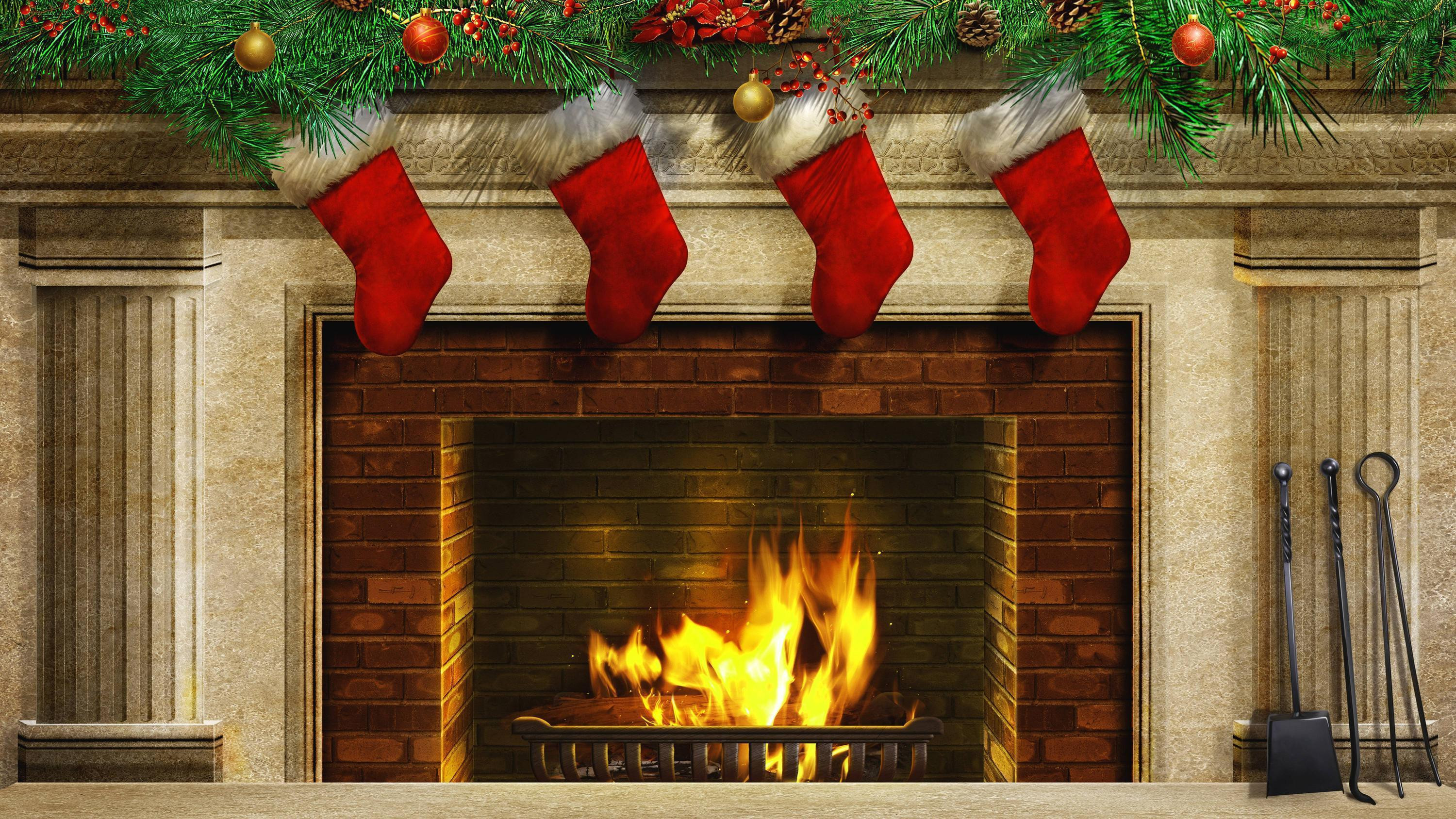 Christmas Sock Fireplace  Christmas Fireplace Backgrounds Wallpaper Cave