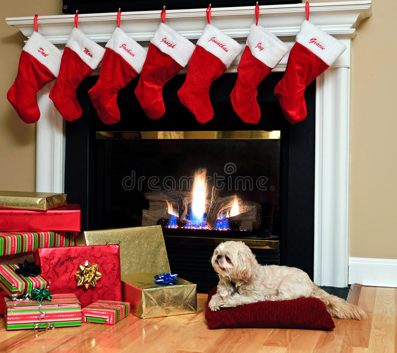 Christmas Sock Fireplace  Christmas Stockings By The Fireplace Stock Image Image