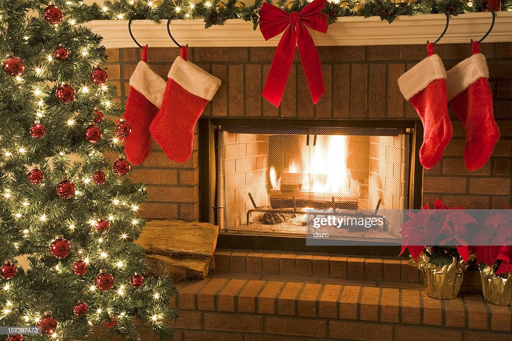 Christmas Sock Fireplace  Christmas Tree And Decor Around The Fireplace With Blazing