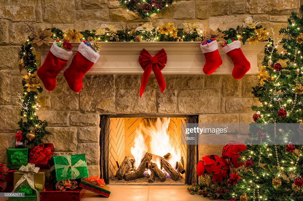 Christmas Sock Fireplace  Christmas Fireplace Tree Stockings Fire Hearth Lights And
