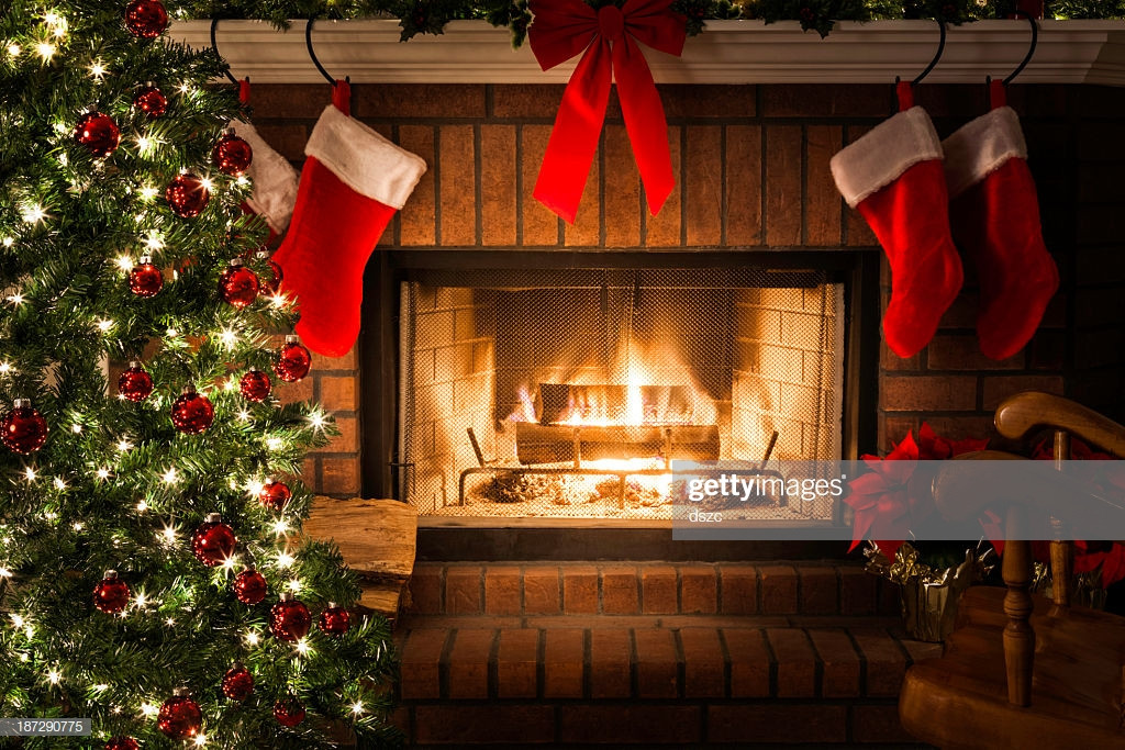 Christmas Sock Fireplace  Decorated Christmas Tree Blazing Fire In Fireplace