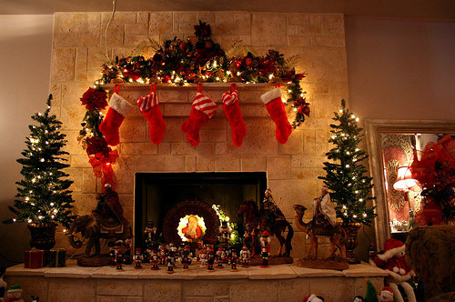 Christmas Sock Fireplace  christmas fireplace lights stockings trees Favim