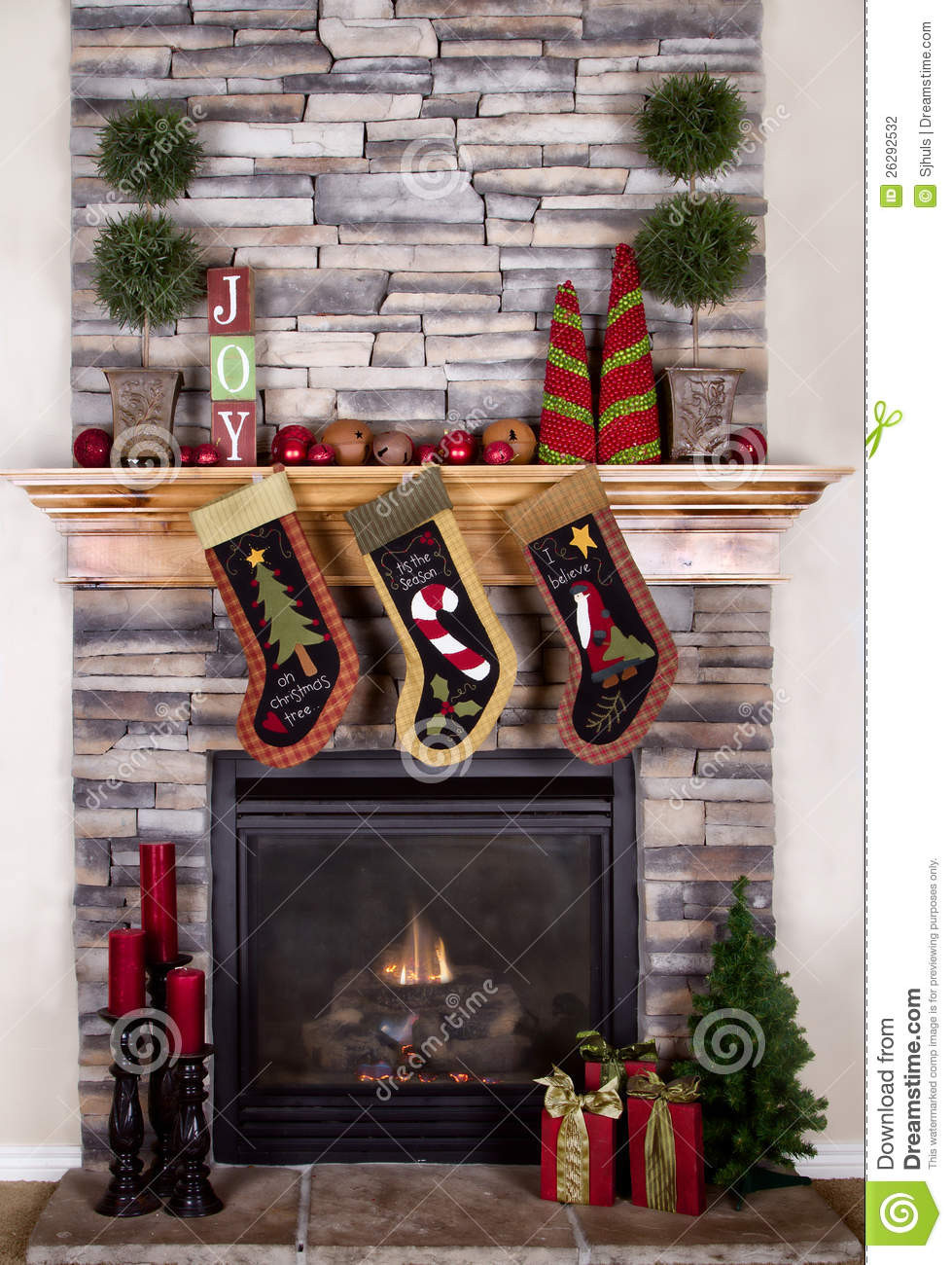 Christmas Sock Fireplace  Christmas Stockings Hanging From Fireplace Stock