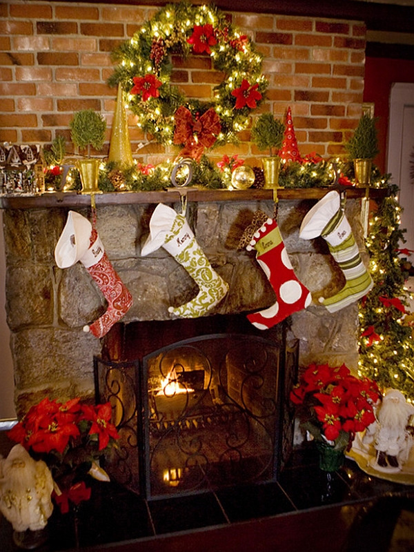 Christmas Sock Fireplace  50 Christmas Mantle Decoration Ideas