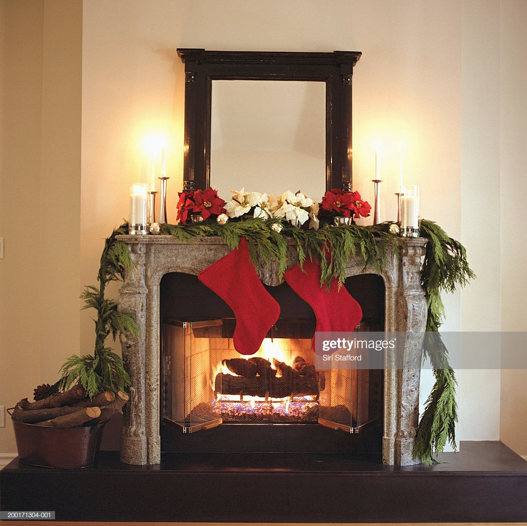 Christmas Sock Fireplace  Fireplace Decorated With Christmas Stockings And