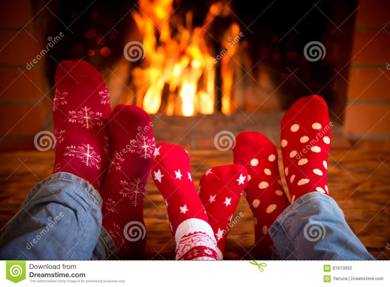 Christmas Sock Fireplace  Family near fireplace stock photo Image of house heat