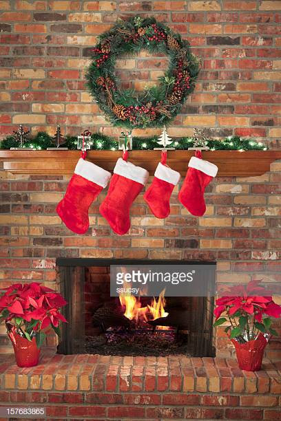 Christmas Sock Fireplace  Christmas Stocking Stock s and