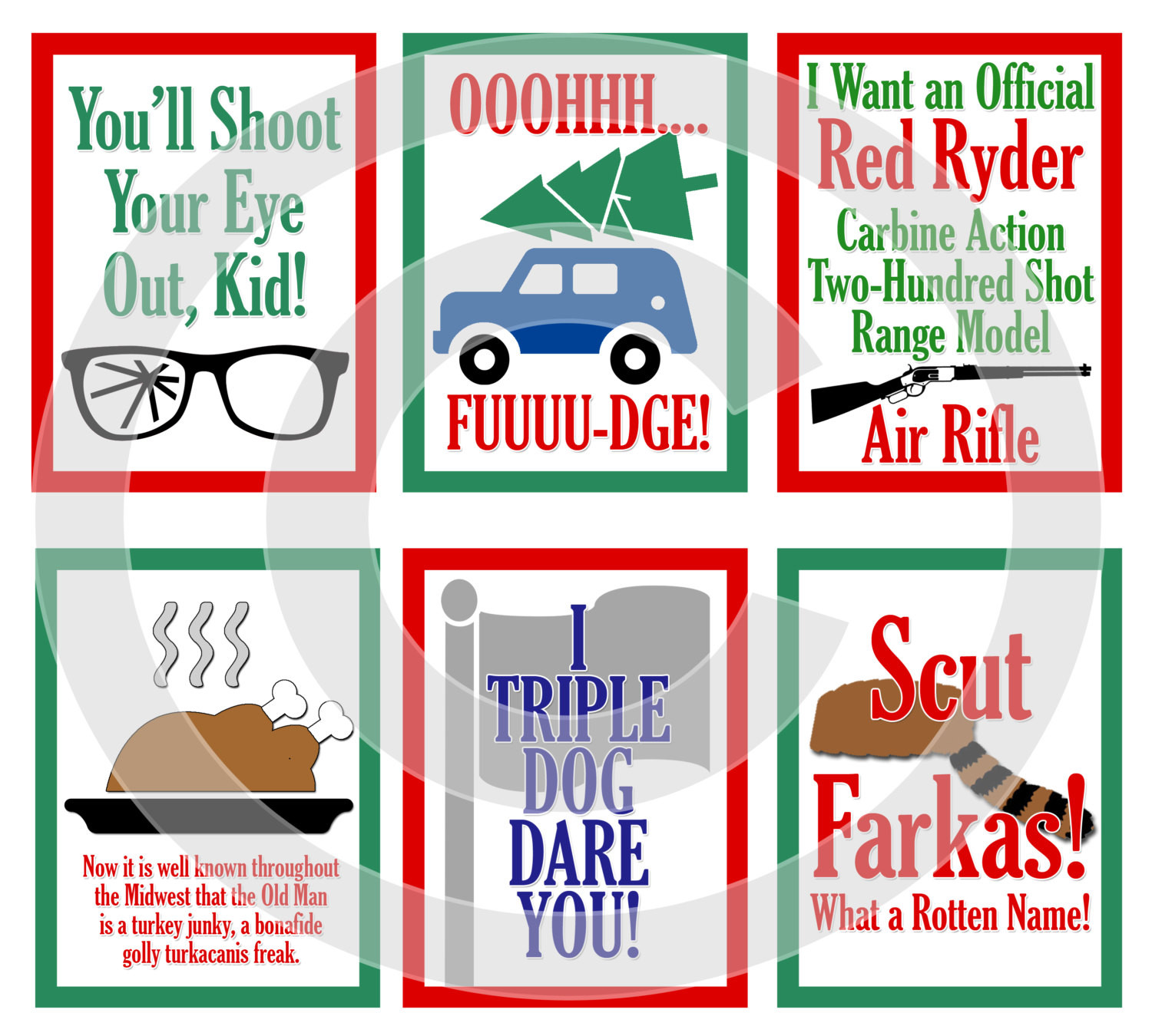 Christmas Story Quotes  A Christmas Story Movie Digital Scrapbooking Journaling Cards