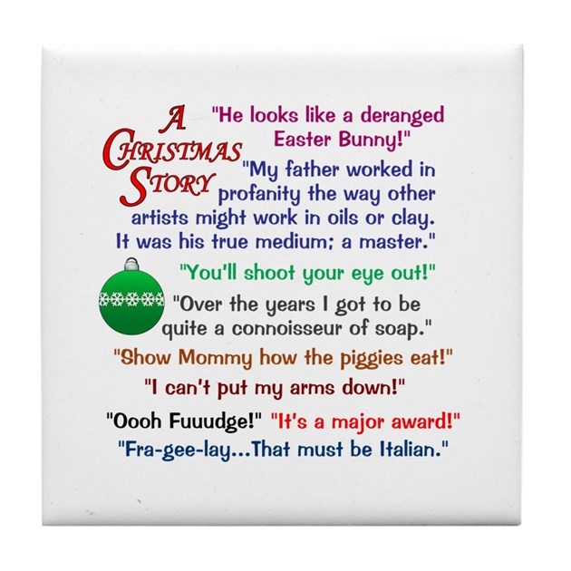 Christmas Story Quotes  A Christmas Story Quotations Tile Coaster by KinnikinnickToo