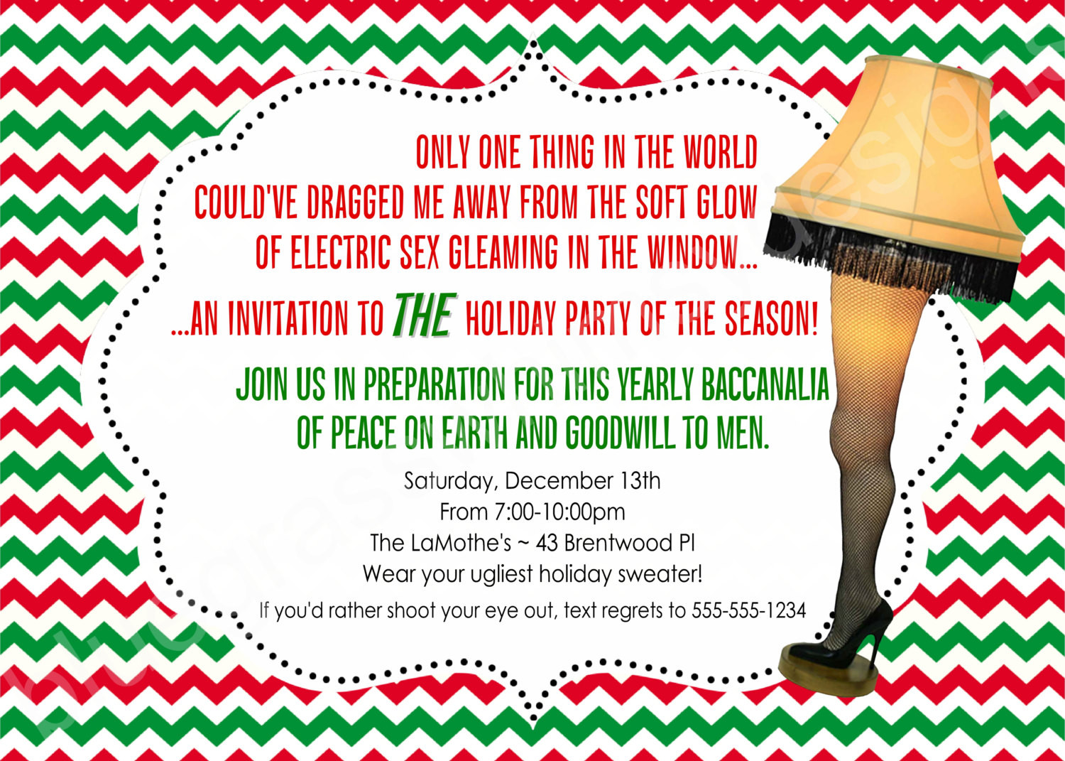 Christmas Story Quotes  A Christmas Story Leg Lamp Printable Holiday Party Invitation