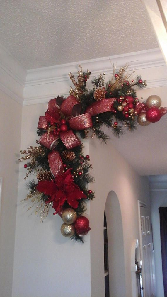 Christmas Swags For Fireplace  Christmas Corner Wreath Garland Swag Fireplace Mantel