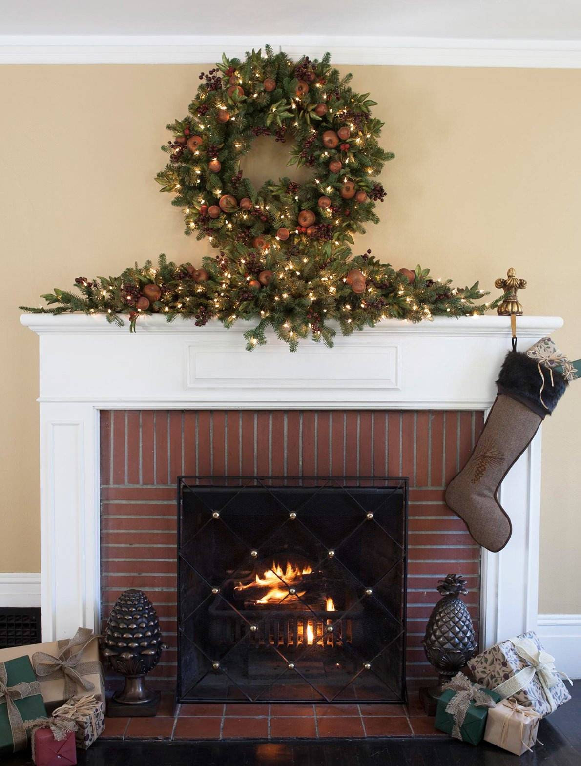 Christmas Swags For Fireplace  Orchard Harvest Artificial Christmas Wreath And Garland