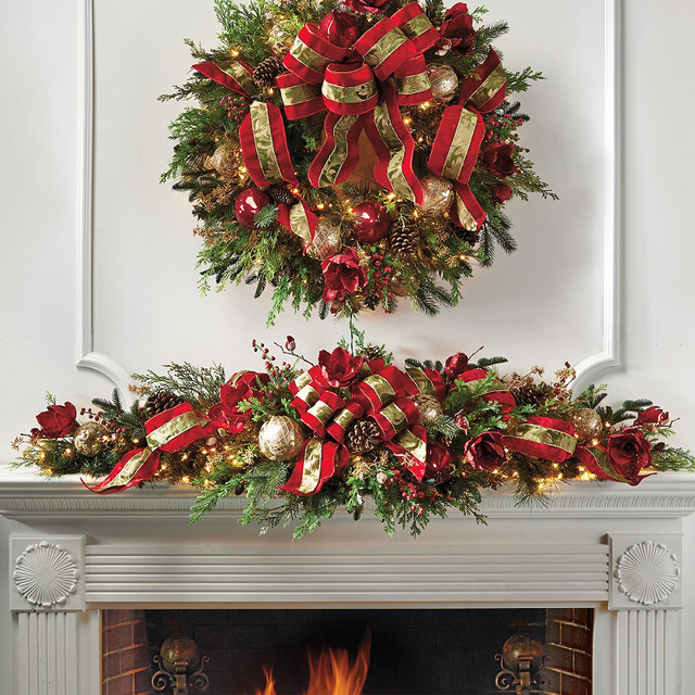Christmas Swags For Fireplace  Christmas Joy Decorated Pre lit Mantle Swag Frontgate