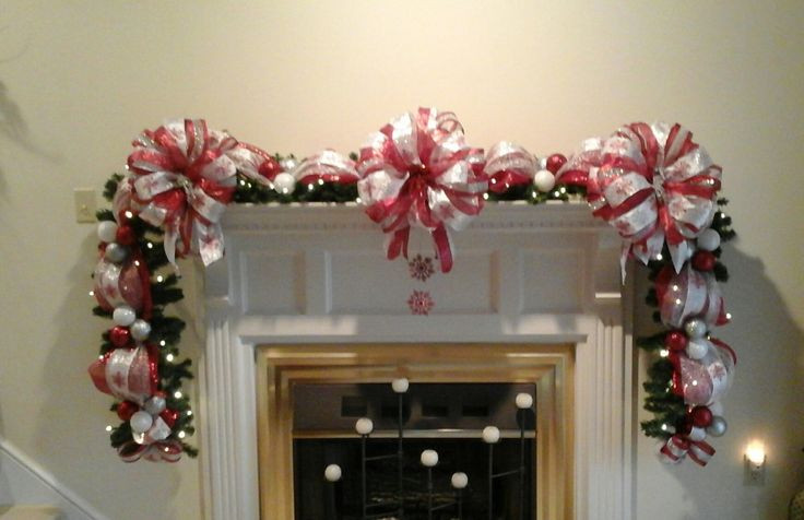 Christmas Swags For Fireplace  21 best Fireplace Mantel Garland images on Pinterest