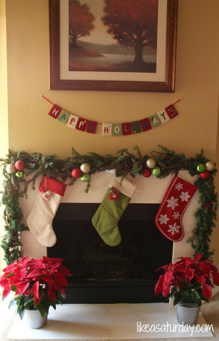 Christmas Swags For Fireplace  Christmas garland around the fireplace