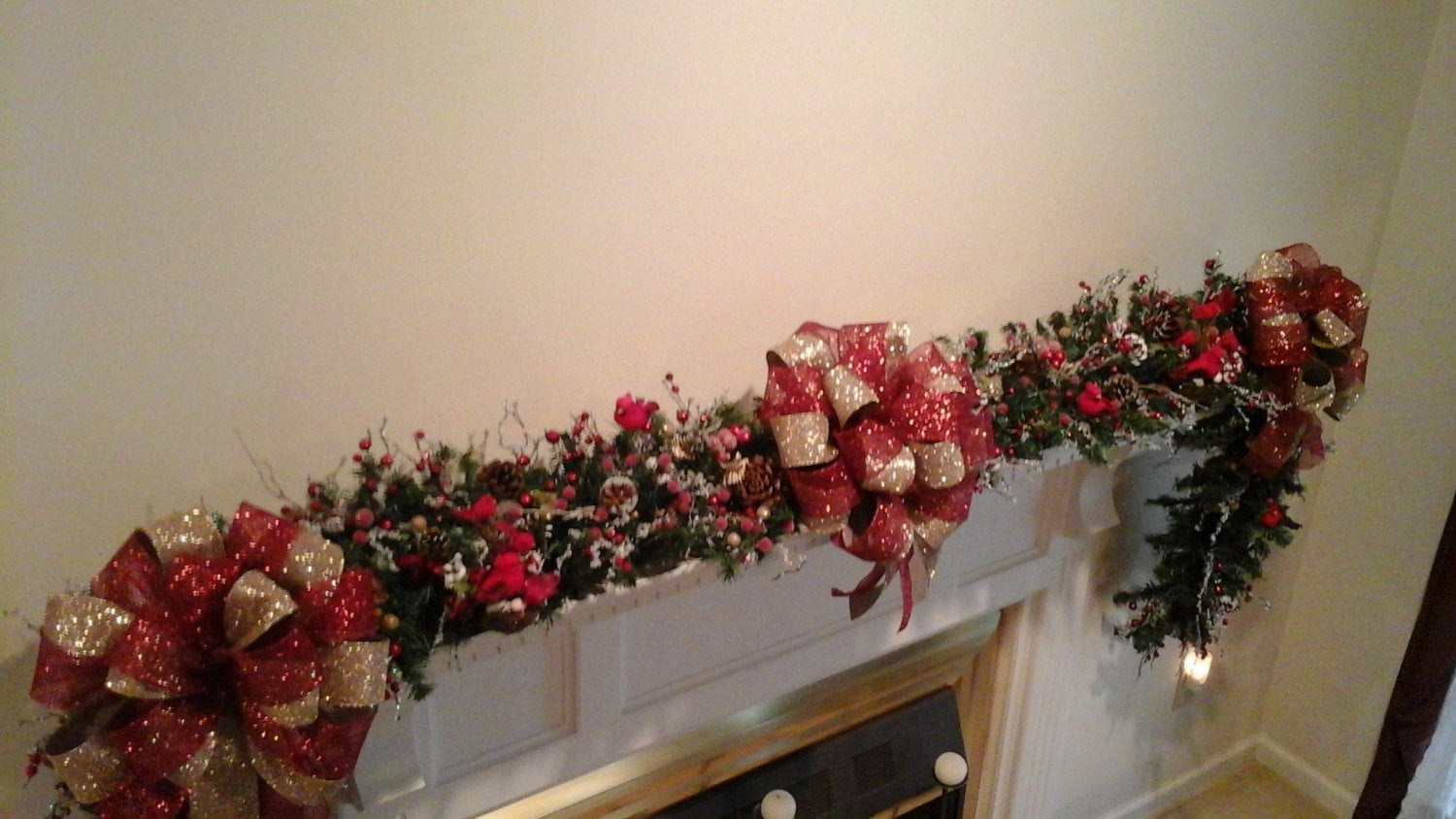 Christmas Swags For Fireplace  Christmas Fireplace Mantel Garland Swag by