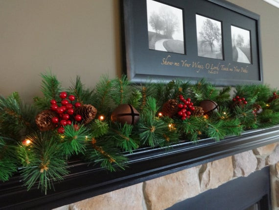 Christmas Swags For Fireplace  Mantle Garland Mantel Garland Christmas Garland Staircase