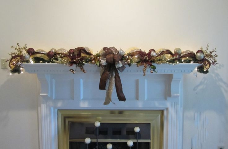 Christmas Swags For Fireplace  Christmas Garland Lighted Swag Mesh Mantel Wall Bronze