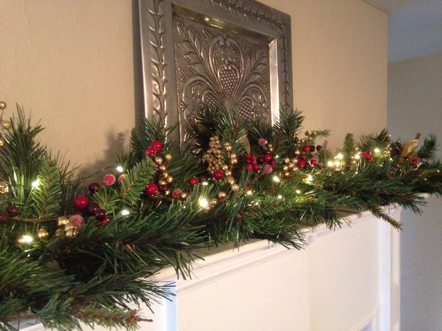 Christmas Swags For Fireplace  Christmas Mantle Garland Red Burgundy Gold Berries Mantel