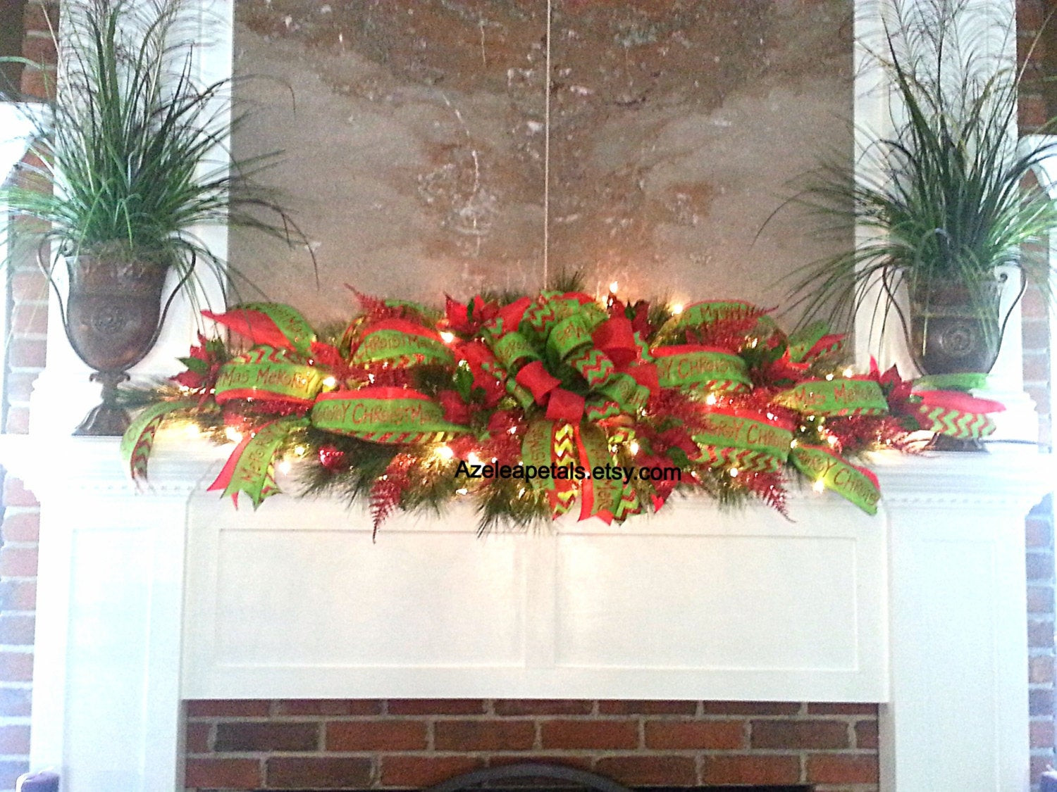 Christmas Swags For Fireplace  XL Mantel Garland Swag Christmas Fireplace Mantle Garland