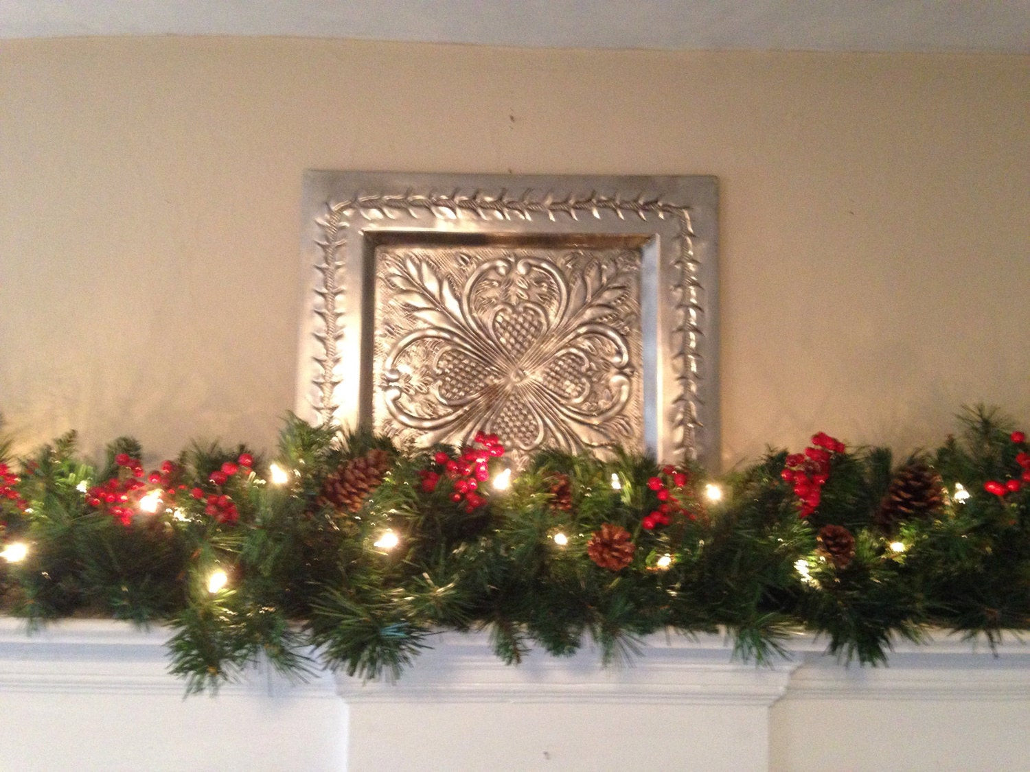 Christmas Swags For Fireplace  Mantle Garland Christmas Garland Red berries Pine Cones