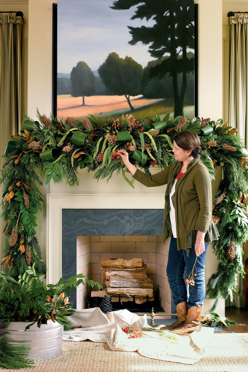 Christmas Swags For Fireplace  Christmas Mantel Decorating Ideas Southern Living