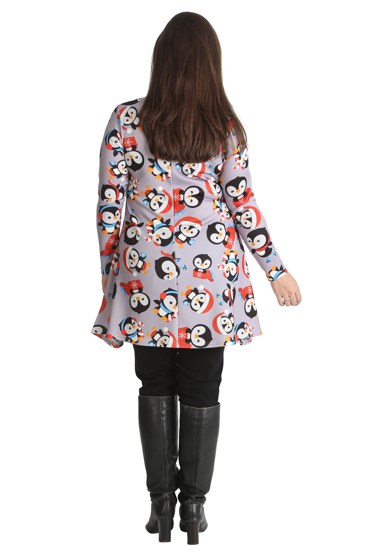 Christmas Swing Dress  New La s Top Women Penguin Christmas Swing Dress Plus