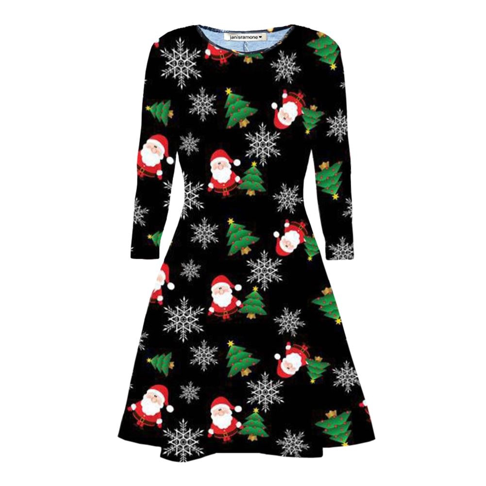 Christmas Swing Dress  New Girls La s Reindeer Xmas Tree Flared Christmas Swing