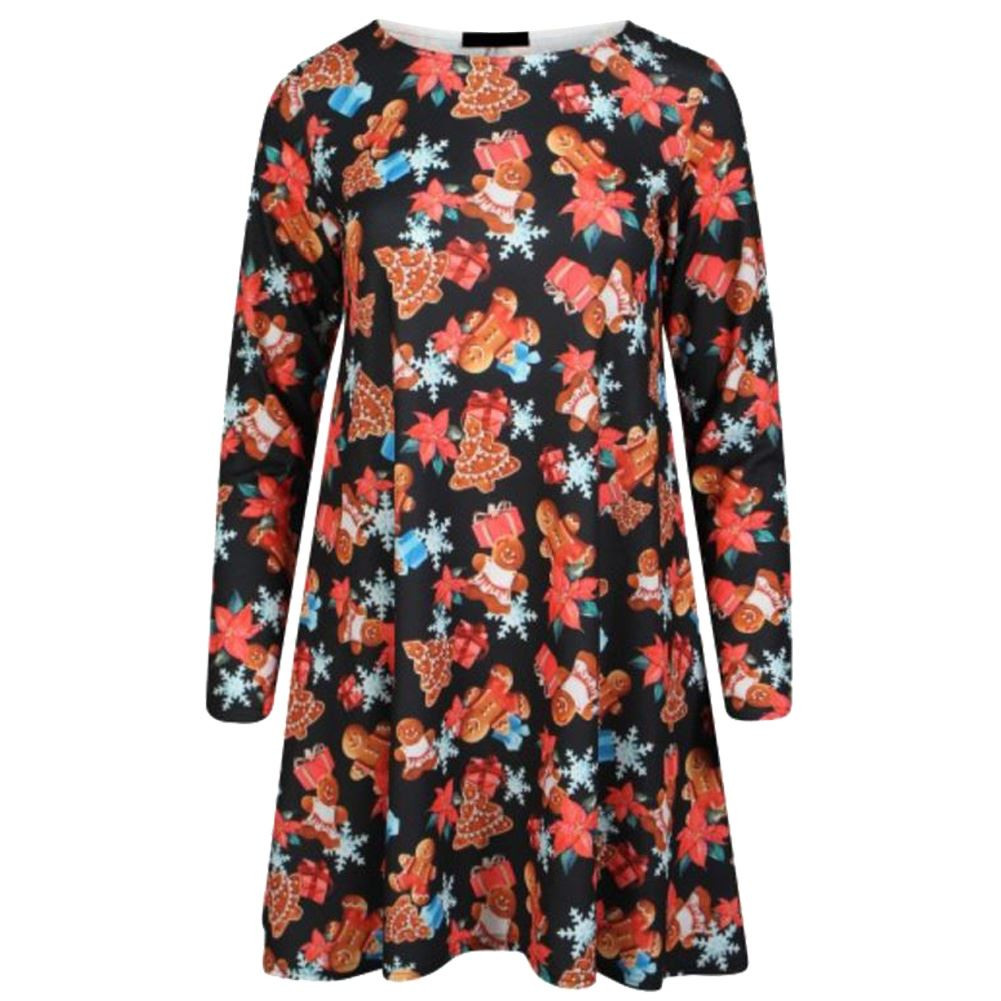 Christmas Swing Dress  New Womens Long Sleeves Christmas Print Swing Dress La s