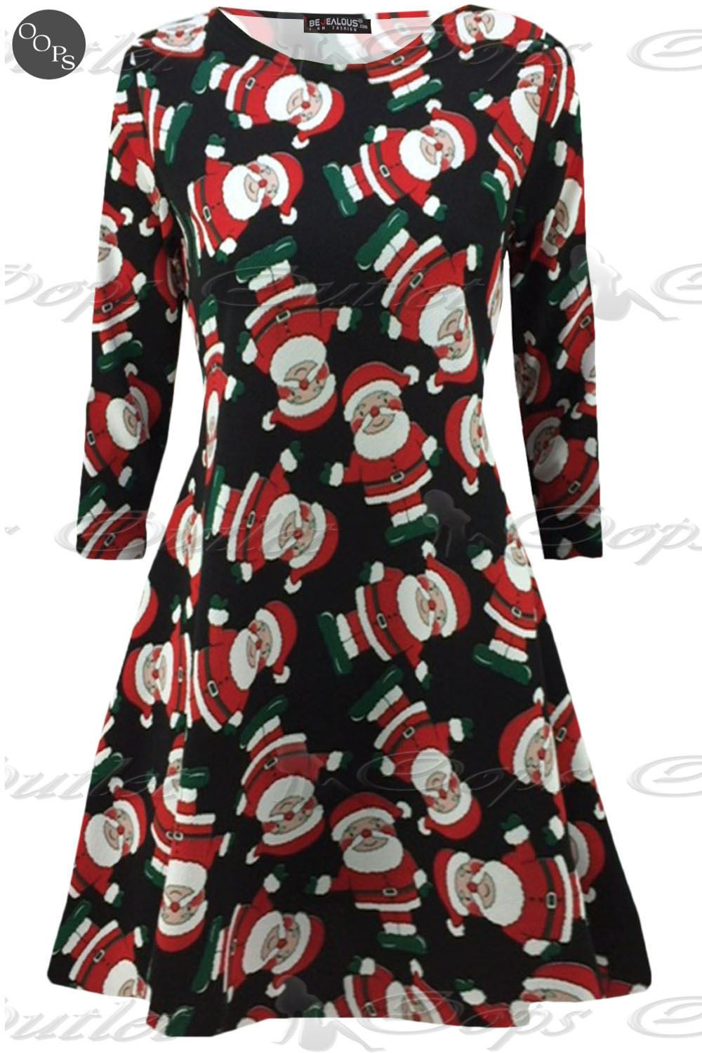 Christmas Swing Dress  Womens Christmas Swing Dress La s Xmas Santa Rudolph