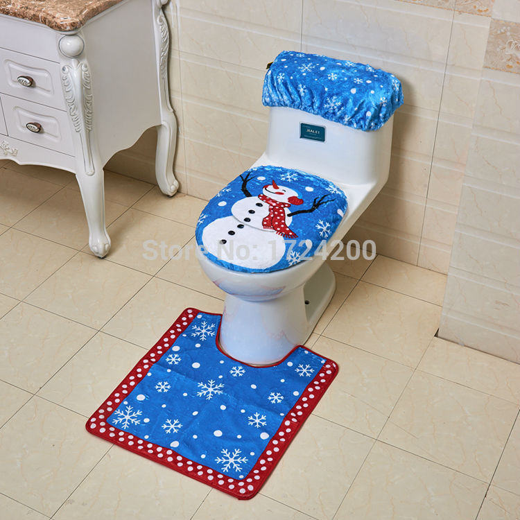 Christmas Toilet Seat  Christmas Decorations Home Toilet Seat Cover Rug Bathroom