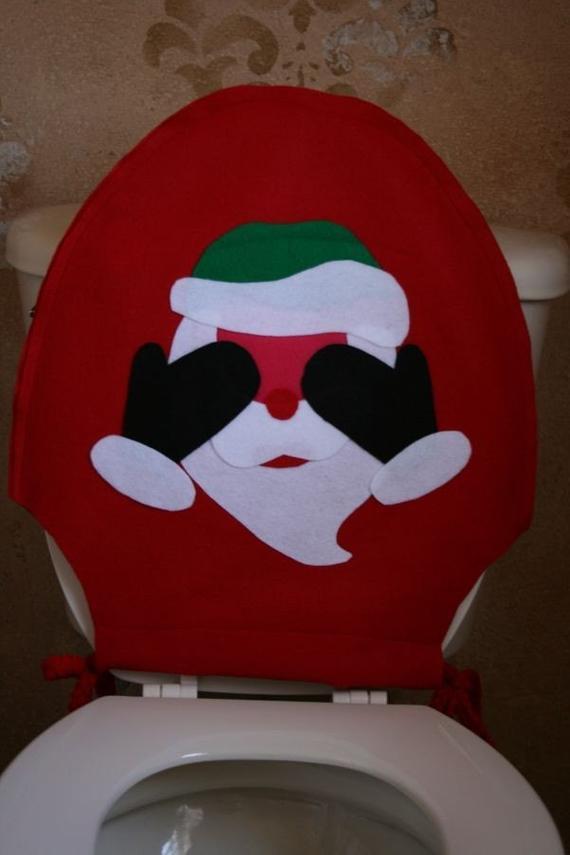 Christmas Toilet Seat  Christmas Toilet Seat Cover Blushing Santa