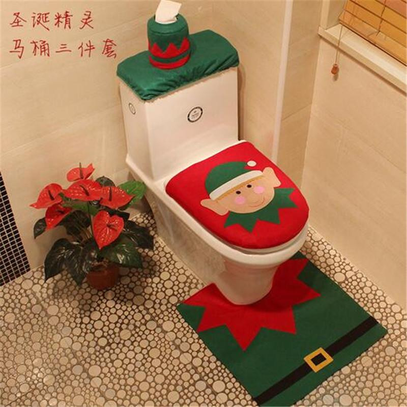 Christmas Toilet Seat  Funny Toilet Cover And Rug Idea For Christmas Bathroom