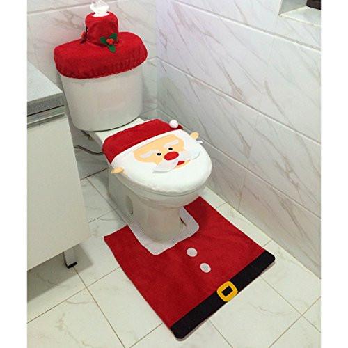 Christmas Toilet Seat  Santa Toilet Seat Cover and Rug Set Christmas Bathroom
