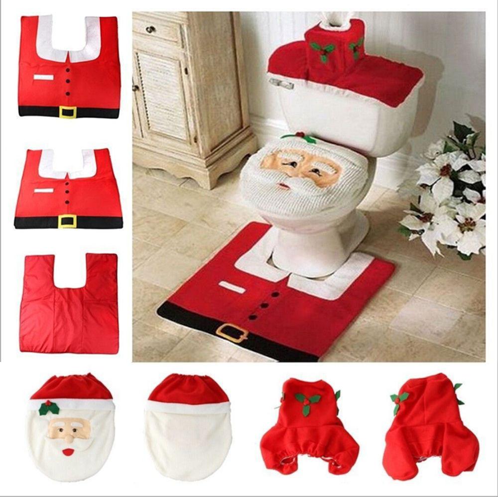 Christmas Toilet Seat  Best Santa Christmas Santa Toilet Seat Cover Rug Bathroom
