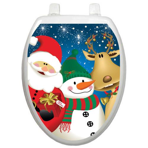 Christmas Toilet Seat  Toilet Tattoos Holiday Gold Christmas Tree Toilet Seat