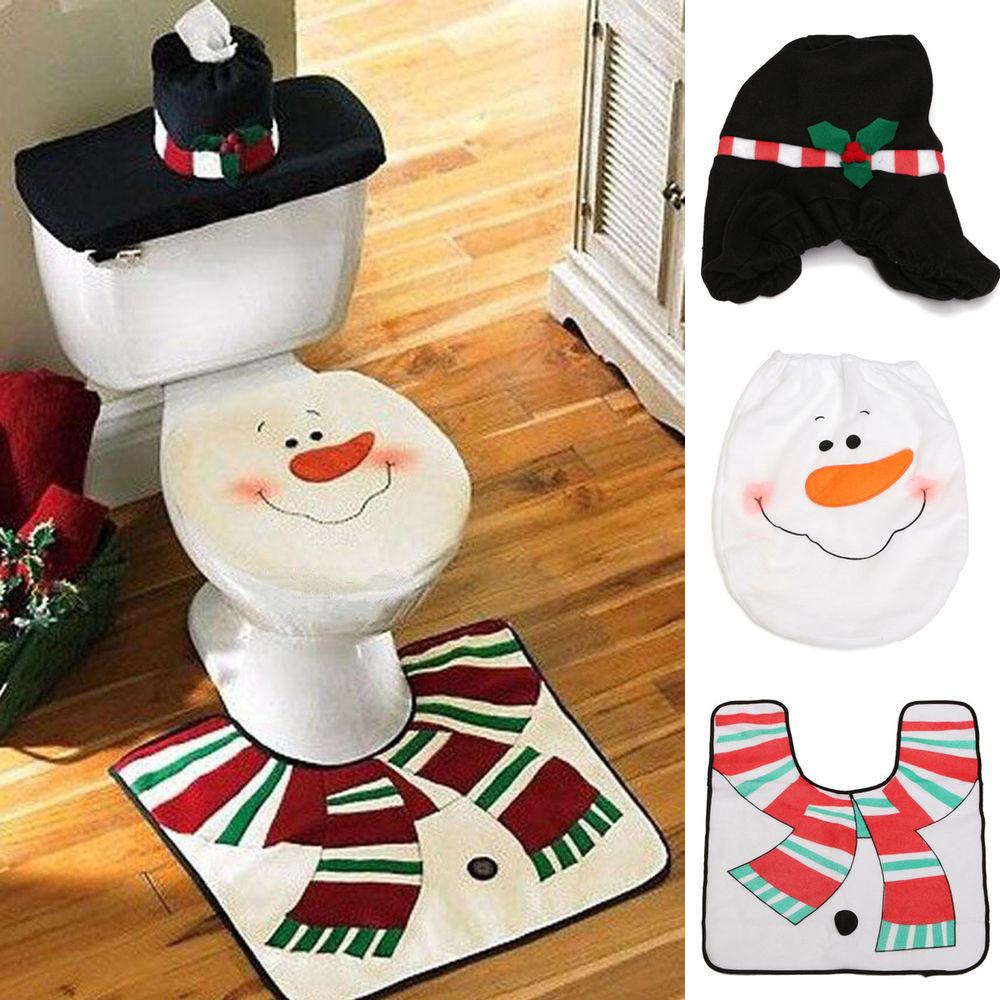 Christmas Toilet Seat  Set 3pcs Christmas Decoration Santa Snowman Toilet Seat