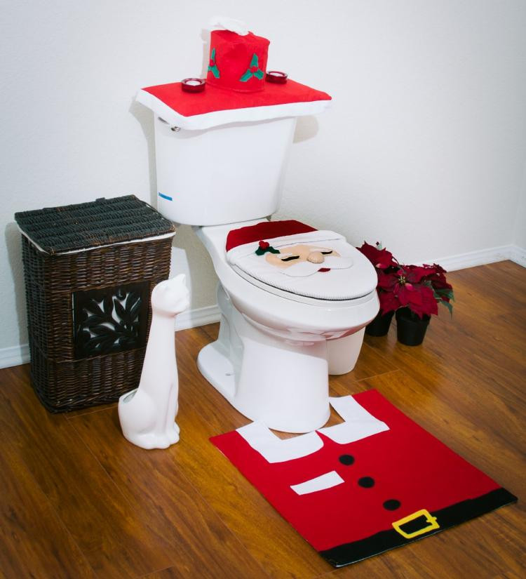 Christmas Toilet Seat  Santa Toilet Cover And Rug Set With Integrated Tissue Box