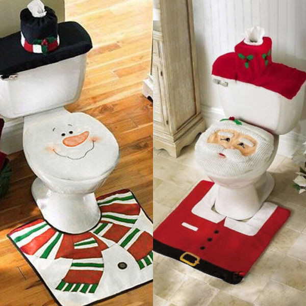 Christmas Toilet Seat  3 Piece Christmas Decorations Santa Toilet Seat Cover