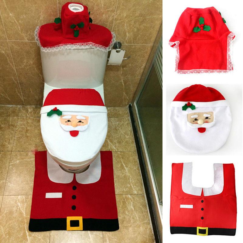 Christmas Toilet Seat  Hot 1set Christmas Fancy Santa Toilet Seat Cover Rug