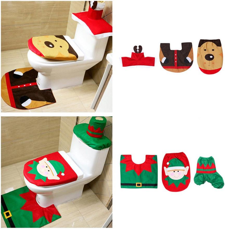 Christmas Toilet Seat  3 Pcs Christmas Decoration Snowman Style Toilet Seat Cover